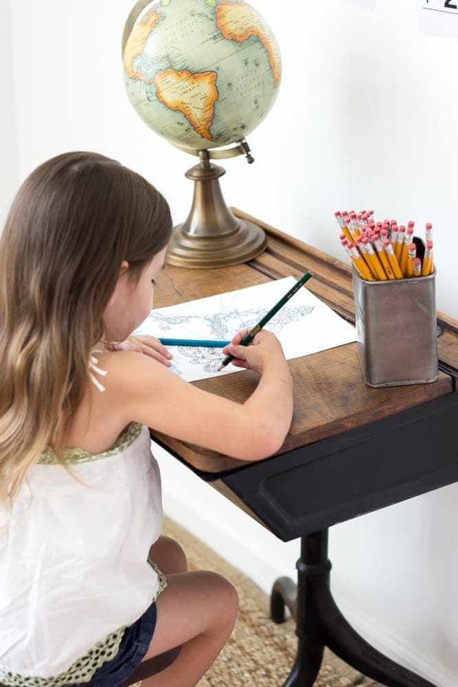 Back-To-School Style Guide, Antique Schoolhouse Desk Makeover & Simple DIY Homework Station | blesserhouse.com
