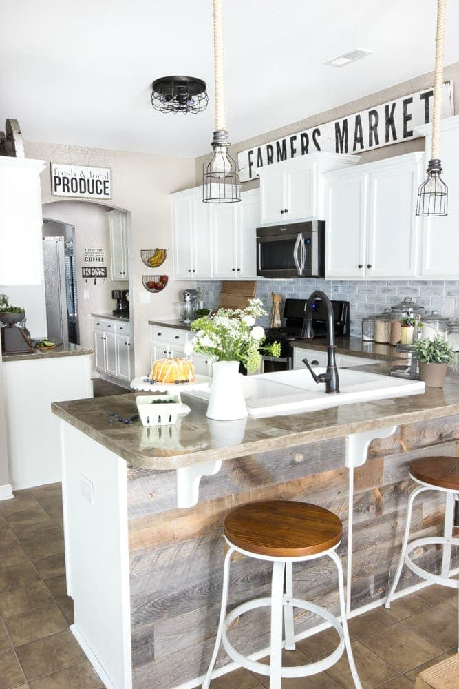 Modern farmhouse kitchen makeover reveal bless 39 er house for Farmhouse style kitchen rugs
