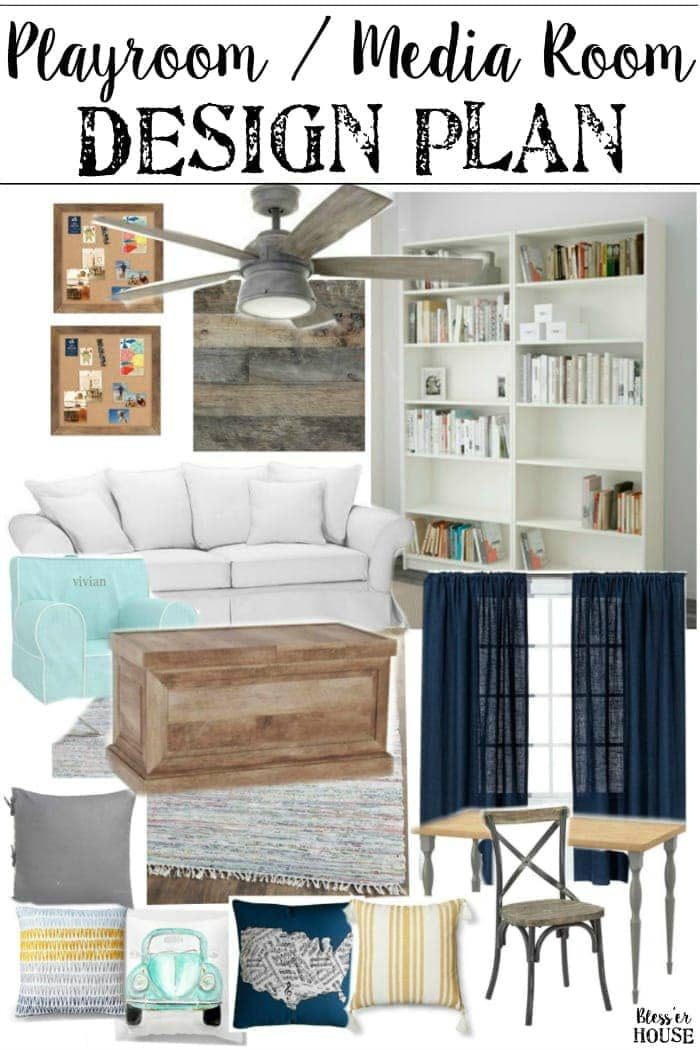 Playroom media room design plans bless 39 er house for Playroom living room combination