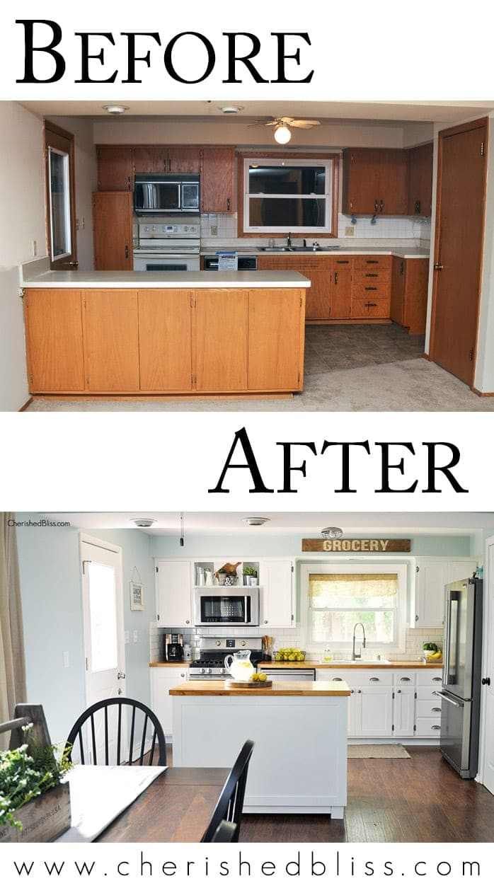 Before And After Small Kitchen: Tips For A Budget Friendly Kitchen Makeover From Cherished