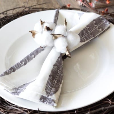 DIY Cotton Boll Napkin Rings