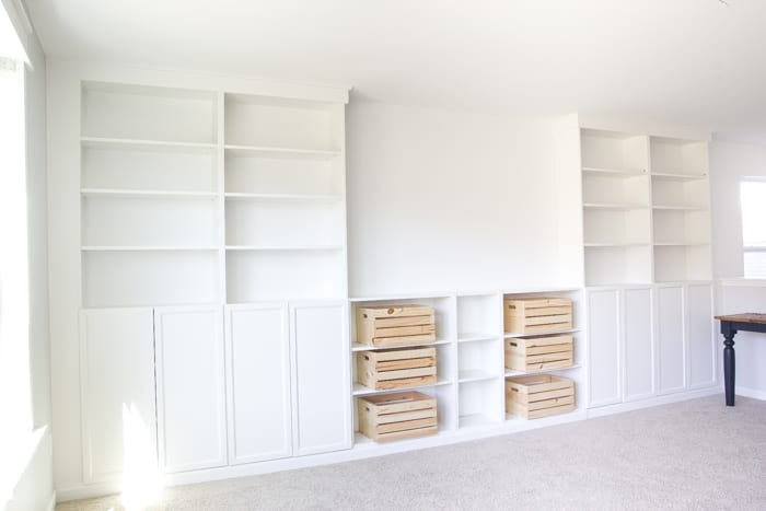 Builtin Bookshelves from IKEA Billy BookcasesHow to do it
