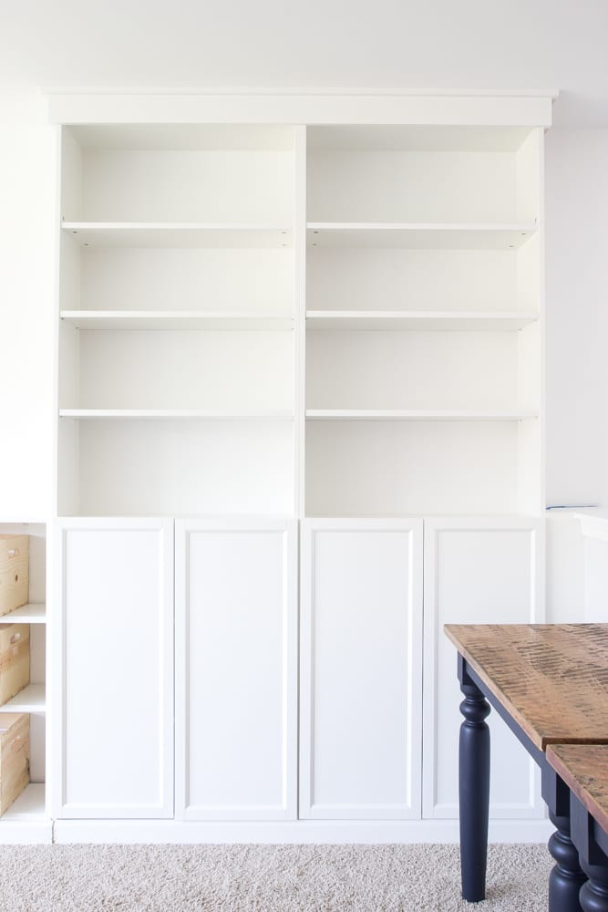 diy built ins from ikea billy bookcases one room challenge week 2 blesserhouse - Ikea Built In Bookshelves