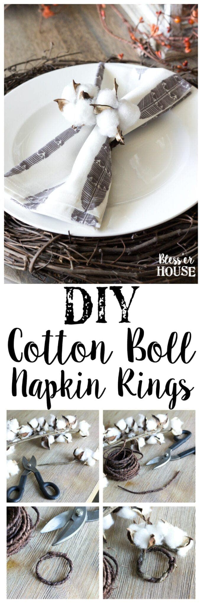 DIY Cotton Boll Napkin Rings | blesserhouse.com - A quick, easy, and inexpensive fall craft to make cotton boll napkin rings using just wire and artificial cotton stems.