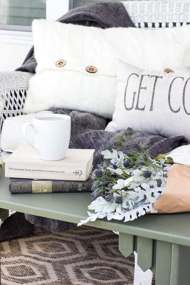 Repurposed Bench Coffee Table | blesserhouse.com - A repurposed bench coffee table gets a simple makeover with Fusion Mineral Paint Bayberry along with ideas for styling a cozy fall front porch.