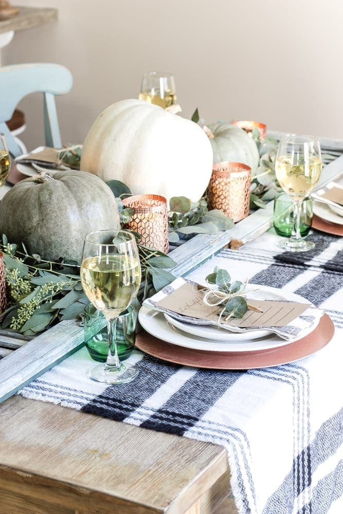 Green And Copper Thanksgiving Tablescape Printable