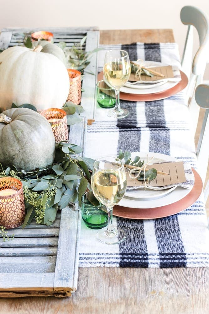Green And Copper Thanksgiving Tablescape Printable Blesserhouse How To Style A