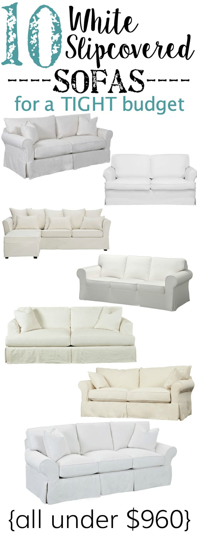 10 White Slipcovered Sofas for a Tight Budget | blesserhouse.com - A shopping guide with 10 white slipcovered sofas on a budget, plus why they are the best option for any families with kids and pets.
