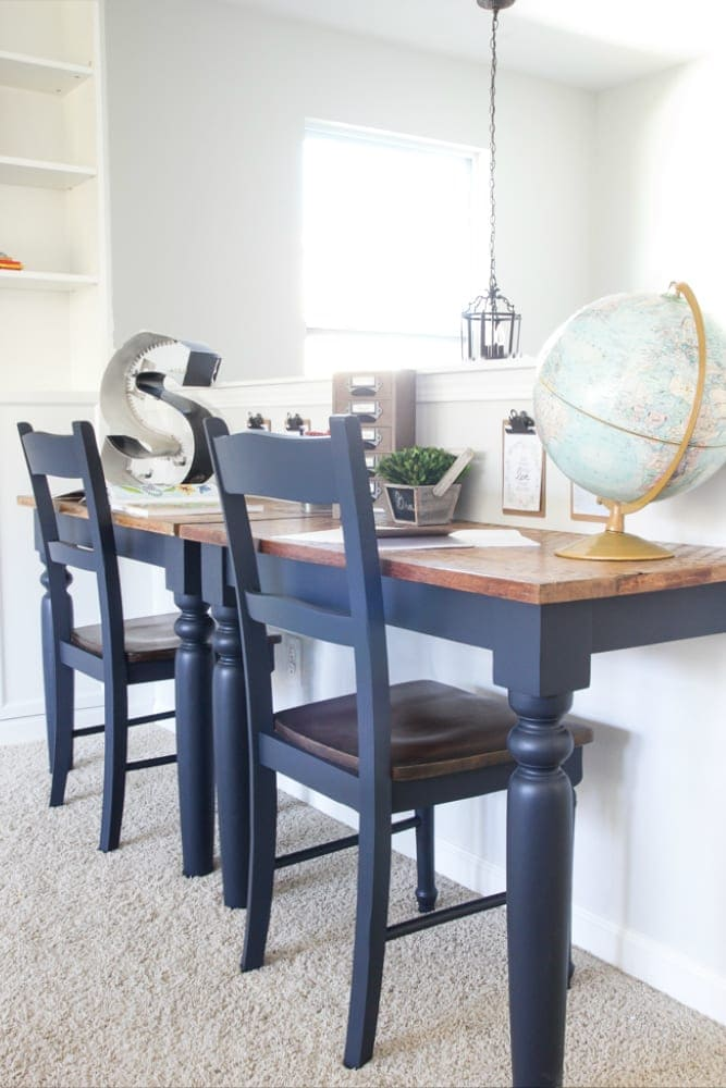 Repurposed Kitchen Table Desks Fusion Midnight Blue 7 Of 13