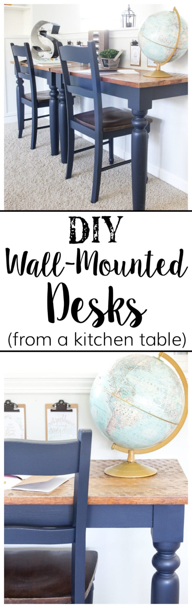 Repurposed Kitchen Table Turned Desks | blesserhouse.com - How to use a repurposed kitchen table to cut in half and make wall-mounted desks for a playroom makeover with Fusion Mineral Paint Midnight Blue.