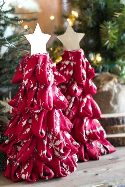 DIY Nordic Sweater Mini Christmas Trees