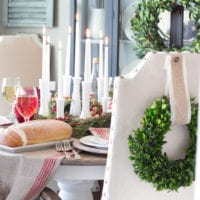Bud Vase Candle Holder Centerpiece and Christmas Tablescape