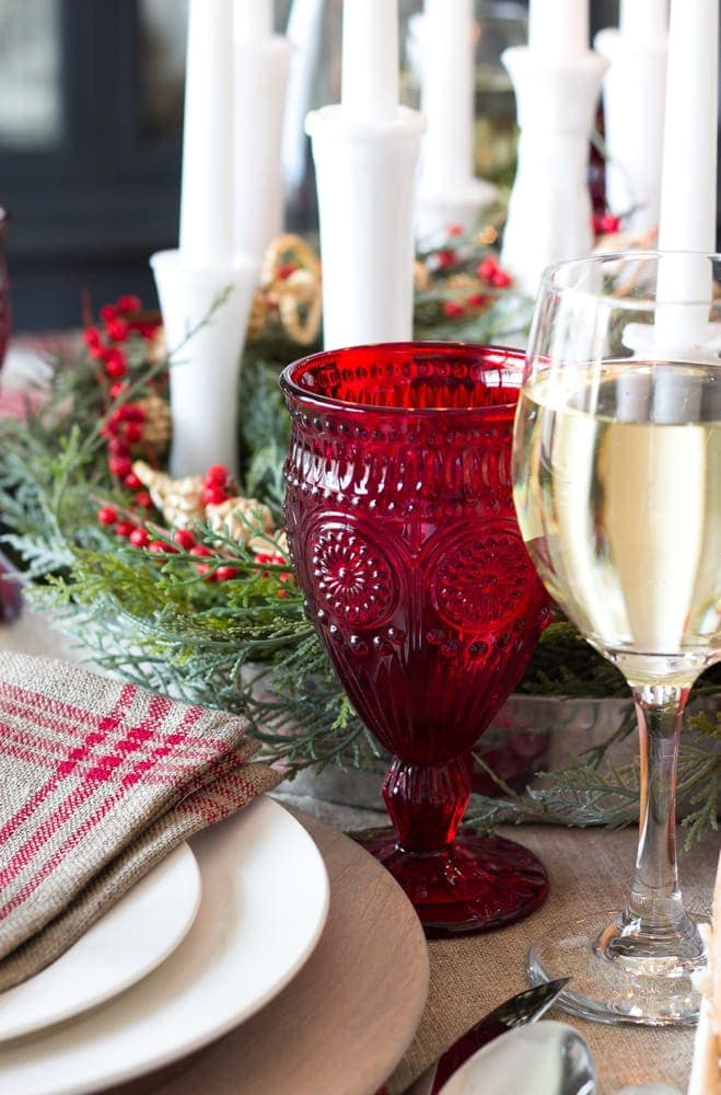 Bud Vase Candle Holder Centerpiece + Christmas Tablescape | blesserhouse.com - Christmas tablescape with bud vases repurposed into a candle holder centerpiece with modern French farmhouse style plus 30 gorgeous Christmas tablescapes.