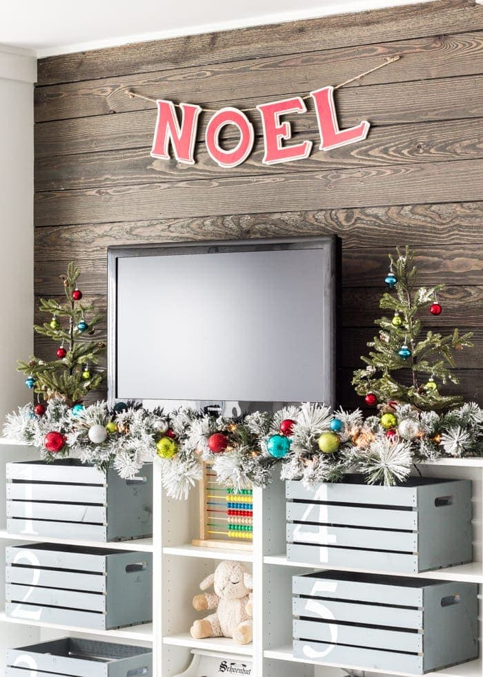Whimsical Retro Christmas Playroom   blesserhouse.com - How to decorate with a whimsical retro Christmas theme using colorful decor from Kirkland's Christmasland line plus ideas for styling a fun playroom. #sponsored