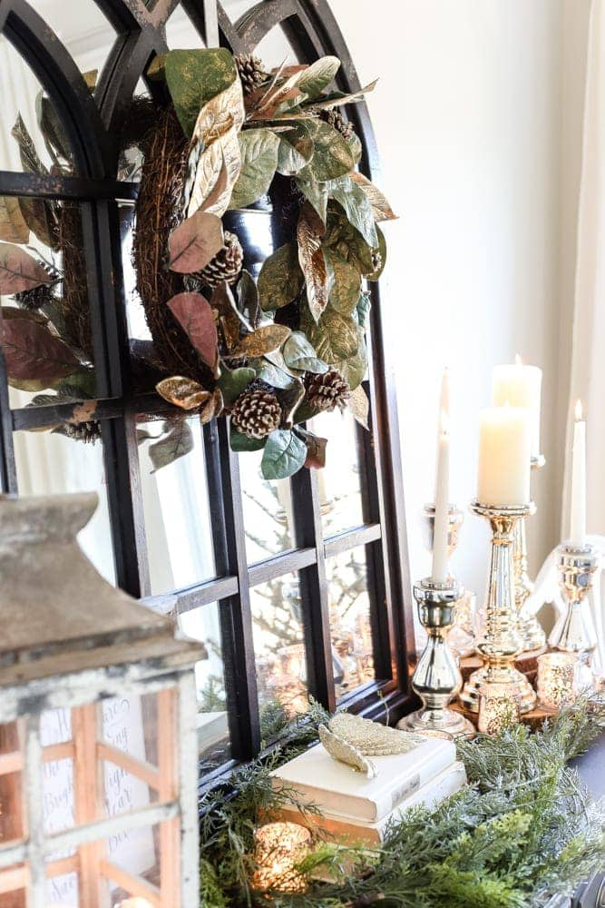 White Christmas Bedrooms   blesserhouse.com - A winter white Christmas bedroom tour with soft neutrals, frosted greenery, mercury glass, and candlelight plus 17 more blogger holiday homes in the All Through the House Tour.