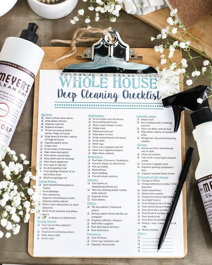 Whole house deep cleaning checklist printable