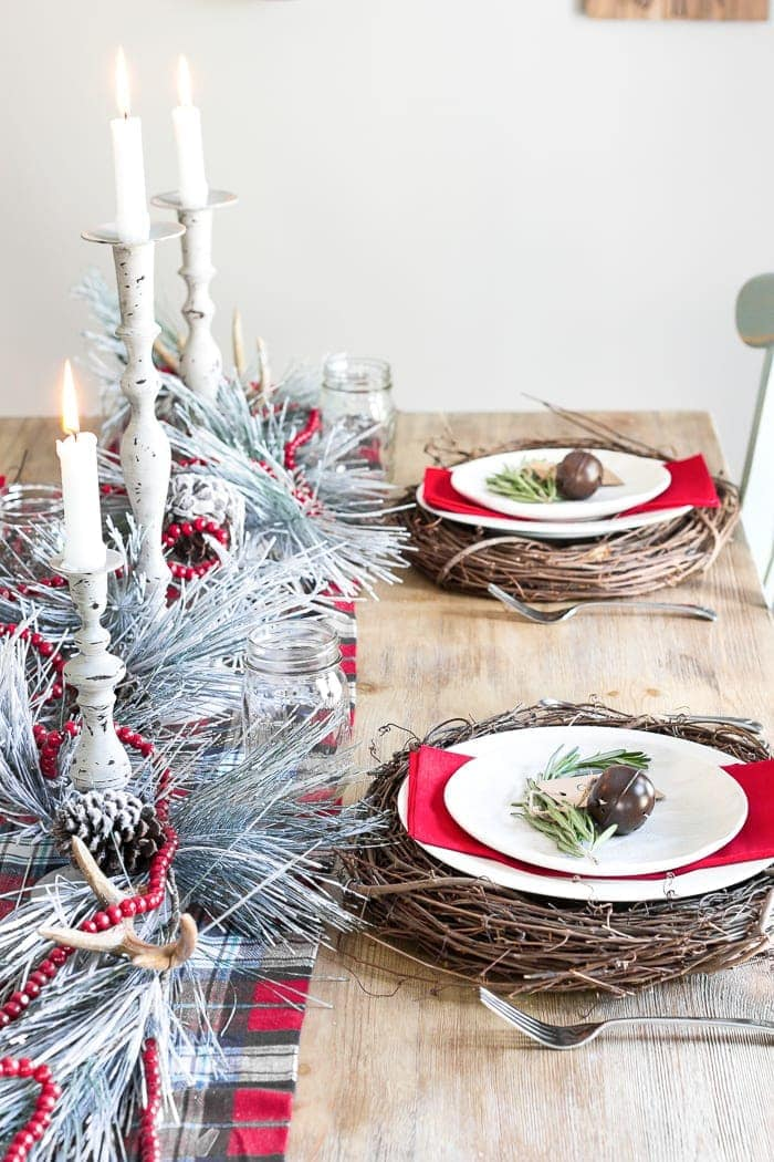 Christmas Table and Kitchen Tour | blesserhouse.com - A tour of a Christmas table and kitchen decorated with pops of red and greenery, plus simple ideas for holiday styling on a budget.