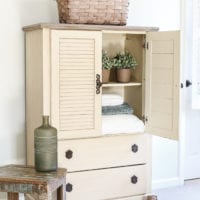 Faux Antique Shutter Armoire Makeover