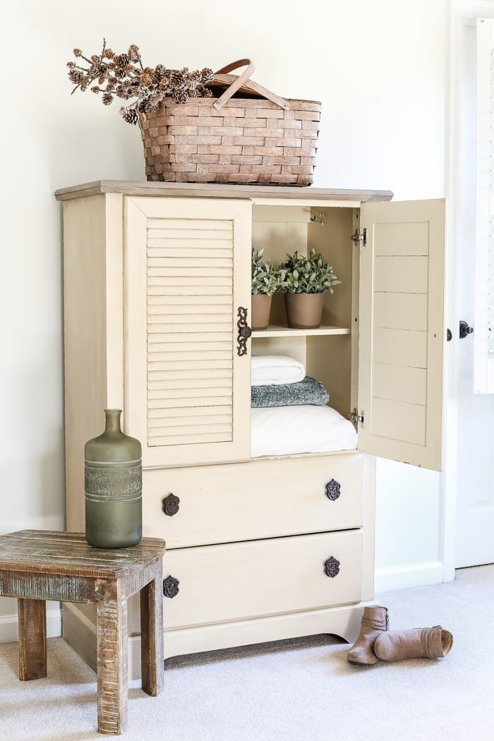 Faux Antique Shutter Armoire Makeover blesserhousecom