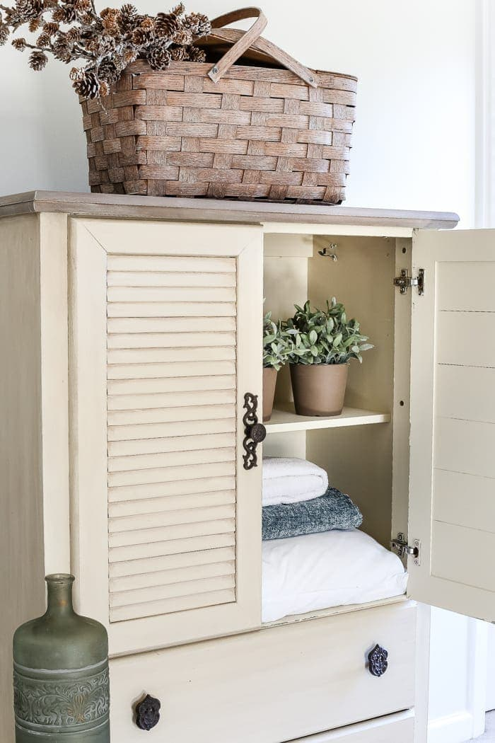 Faux Antique Shutter Armoire Makeover | Blesserhouse.com   A Basic Veneer  Cabinet Gets A