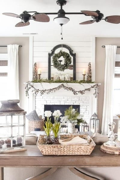 After-Christmas Winter Mantel and Living Room