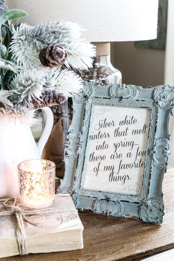 "Silver White Winter Printable | blesserhouse.com - A free downloadable printable perfect to frame in the winter for home decor featuring the song lyrics from The Sound of Music's ""My Favorite Things""."