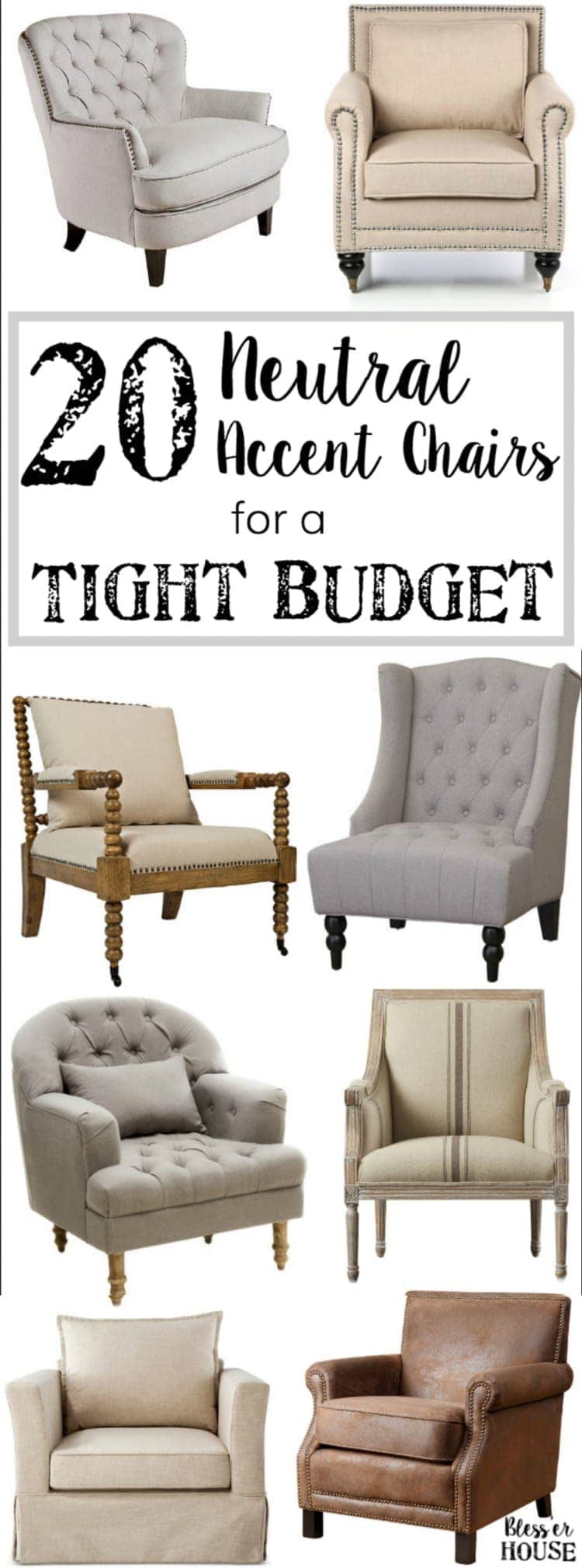 20 Neutral Accent Chairs for a Tight Budget | blesserhouse.com - 20 of the most highly rated neutral accent chairs fit for any type of space for less than $399.