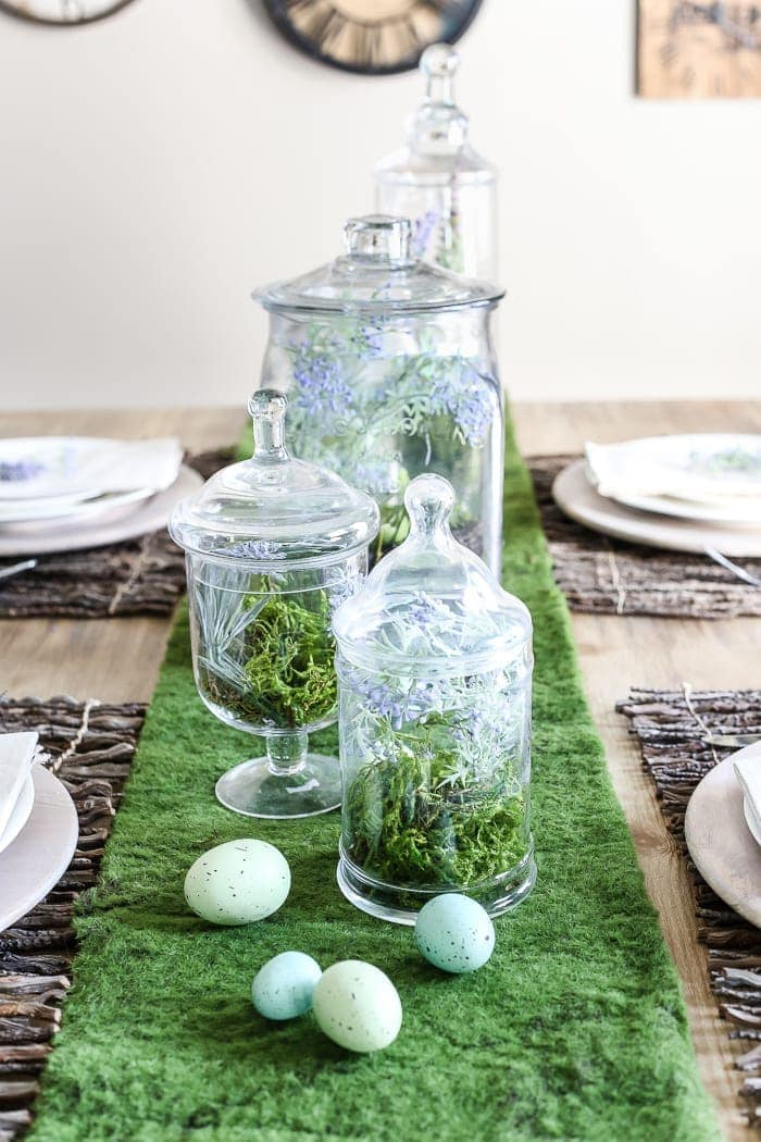 Apothecary Jar Terrarium Easter Centerpiece | blesserhouse.com - An apothecary jar terrarium Easter centerpiece and tablescape for a vintage style look with a budget-friendly price tag, plus more Easter entertaining ideas