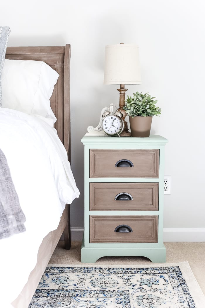 two tone nightstands makeover plain nightstands get a colorful two tone