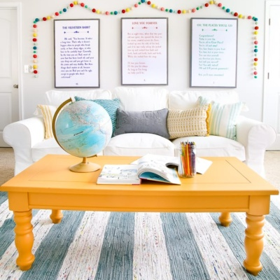Mustard Playroom Coffee Table Makeover