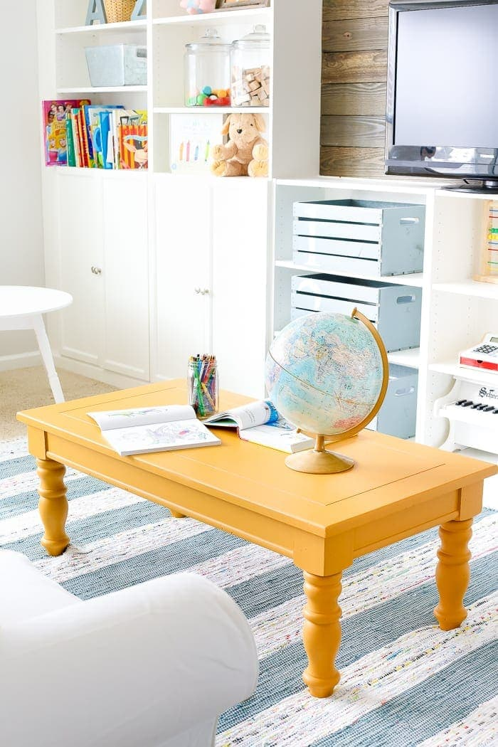 Mustard Playroom Coffee Table Makeover blesserhousecom