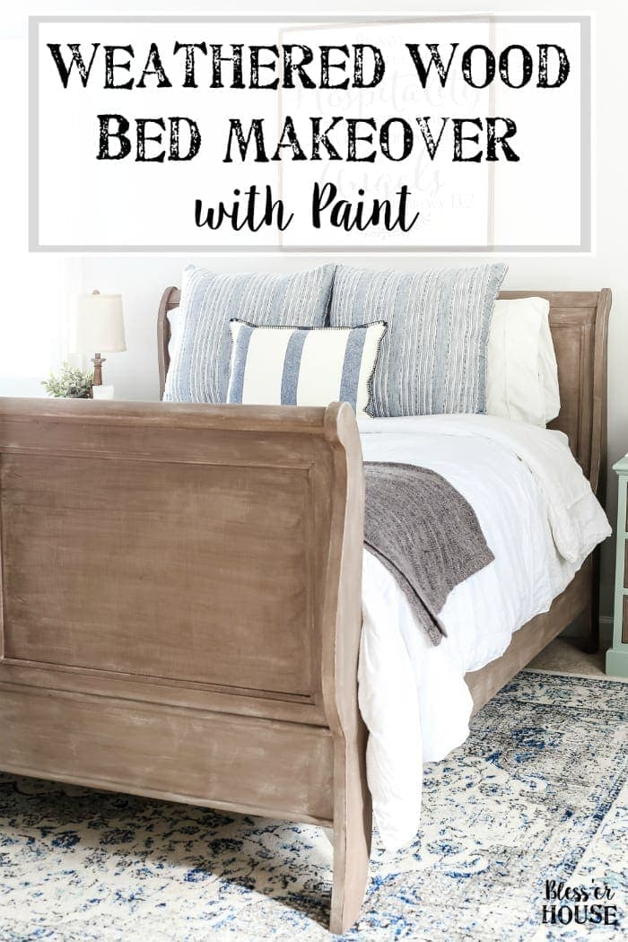 Painted Weathered Wood Bed Makeover Blesserhouse A Thrifted Gets