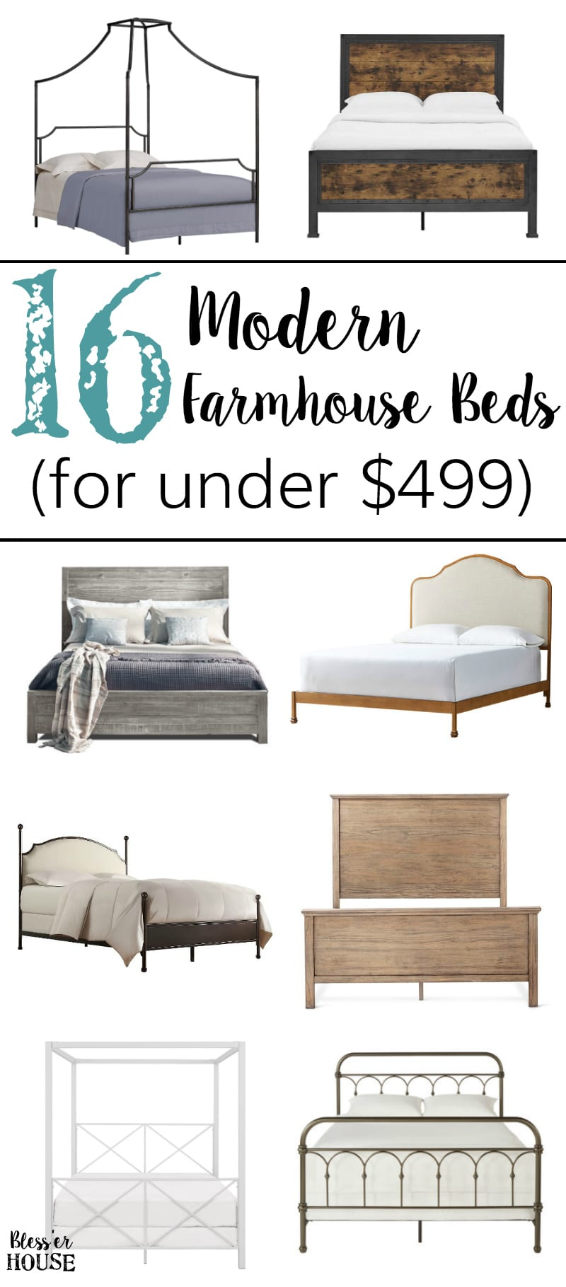 16 Modern Farmhouse Beds on a Small Budget | blesserhouse.com - A shopping guide featuring 16 modern farmhouse beds all for under $499 for glam, industrial, rustic, and traditional styles.