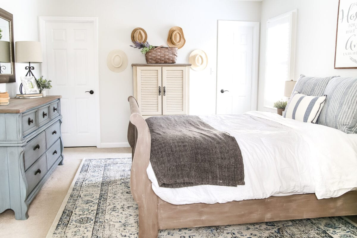 Blue cottage style guest bedroom makeover reveal bless for Guest bedroom furniture