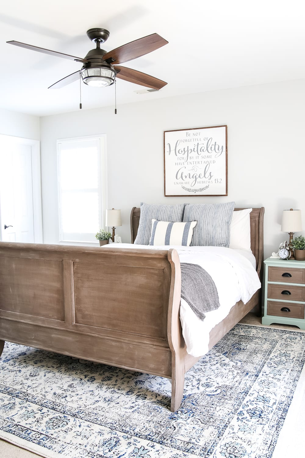 Blue Cottage Style Guest Bedroom Makeover | Blesserhouse.com   A Dark And  Dated Guest