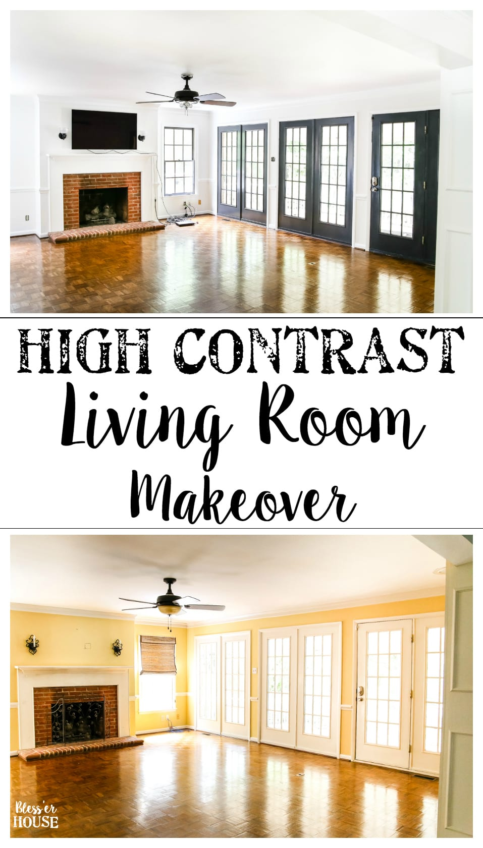 Living Room Makeover - High Contrast Paint | blesserhouse.com - A beige, dated living room gets a classic and chic high contrast makeover using just Benjamin Moore paint for a simple, inexpensive way to create drama.