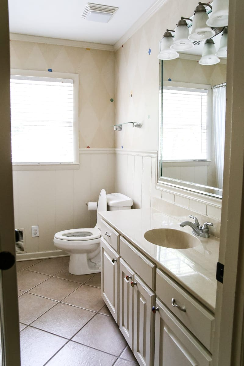 Painted Cabinet Bathroom Update | Blesserhouse.com   A Dated Cabinet Gets A  Refresh With
