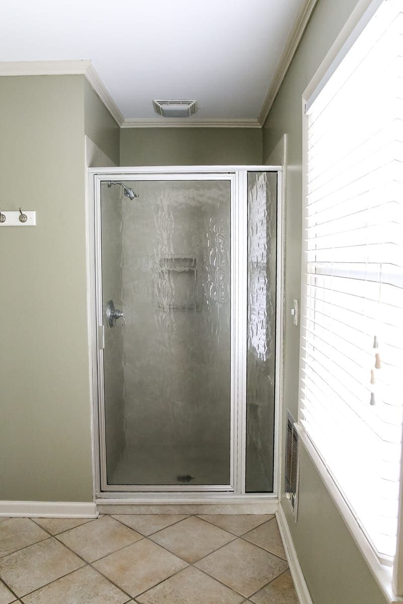 Budget Master Bathroom Refresh Reveal | shower door before