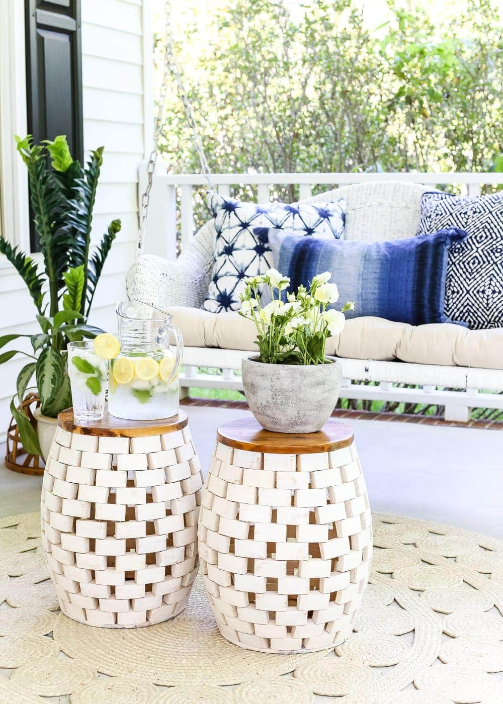 The Secret to Arranging a Versatile Outdoor Space | blesserhouse.com - 1 trick for arranging a versatile outdoor space to get the most function out of a small porch, plus decorating ideas to make it inviting with TJ Maxx. #sponsored