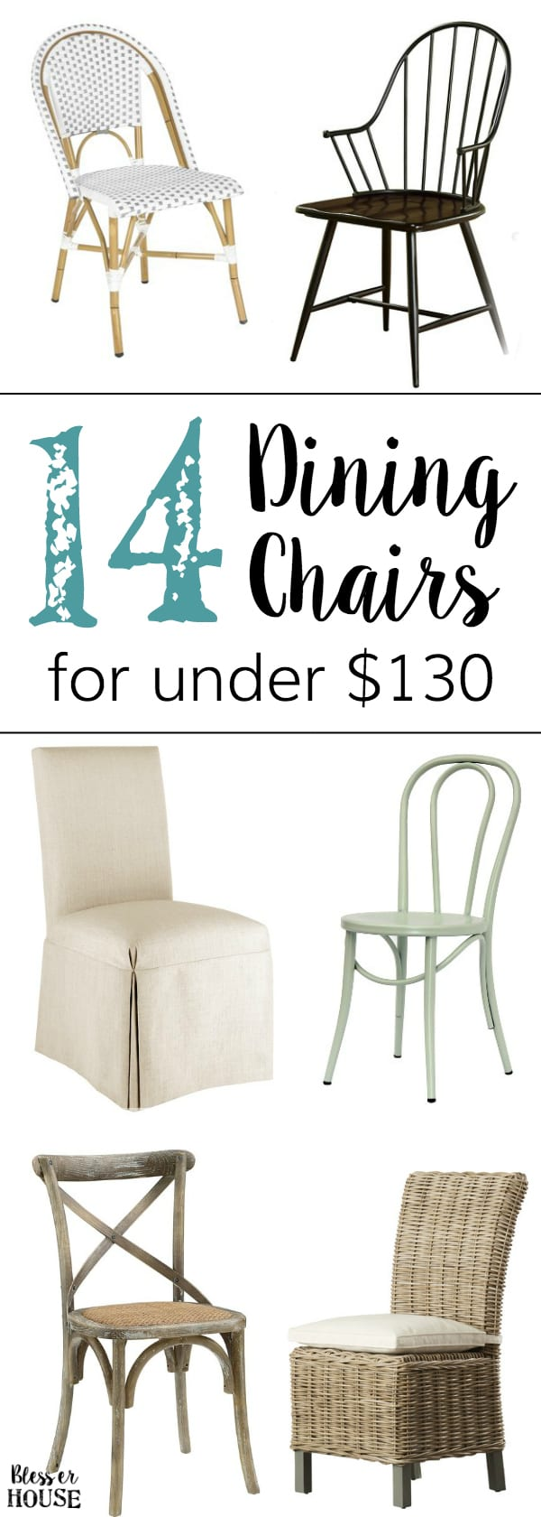 14 Dining Chairs for a Small Budget | blesserhouse.com - A home decor shopping guide with 14 industrial French farmhouse style dining chairs for a small budget, many for less than $70!