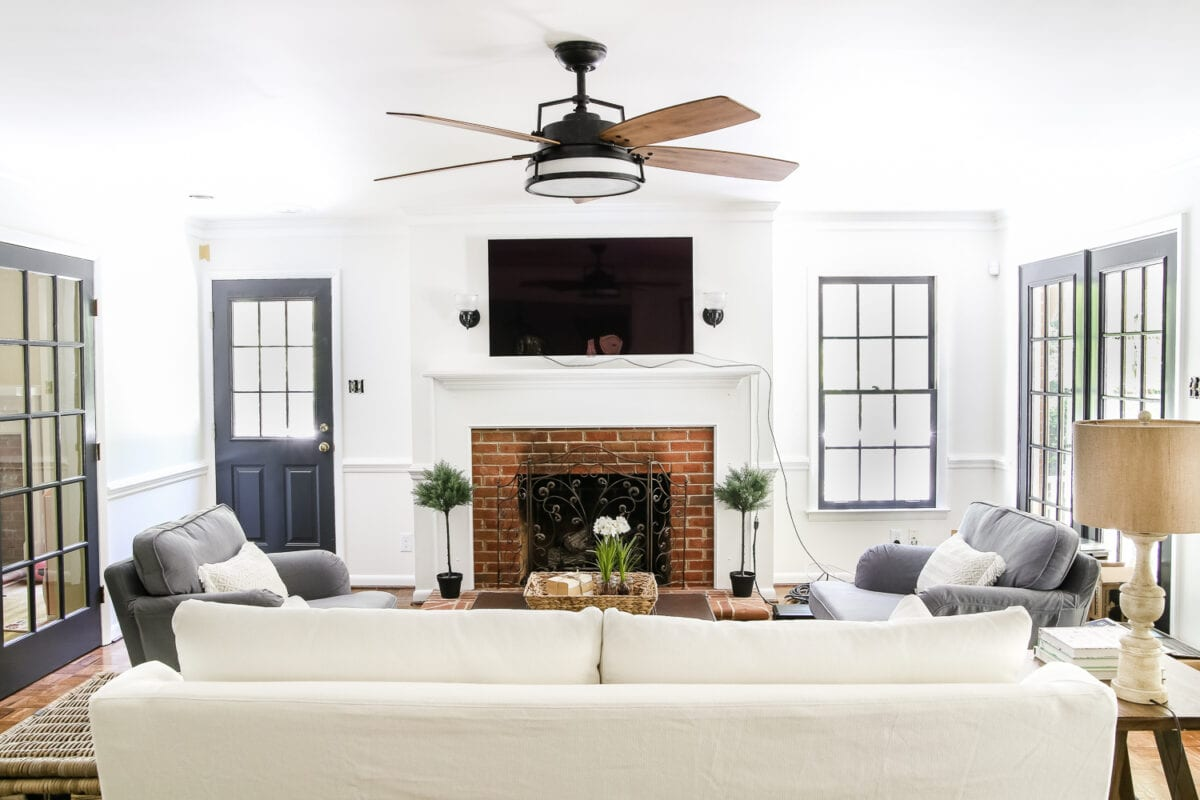 Nice Living Room Update: Ceiling Fan Swap | Blesserhouse.com   A Bland, Boring