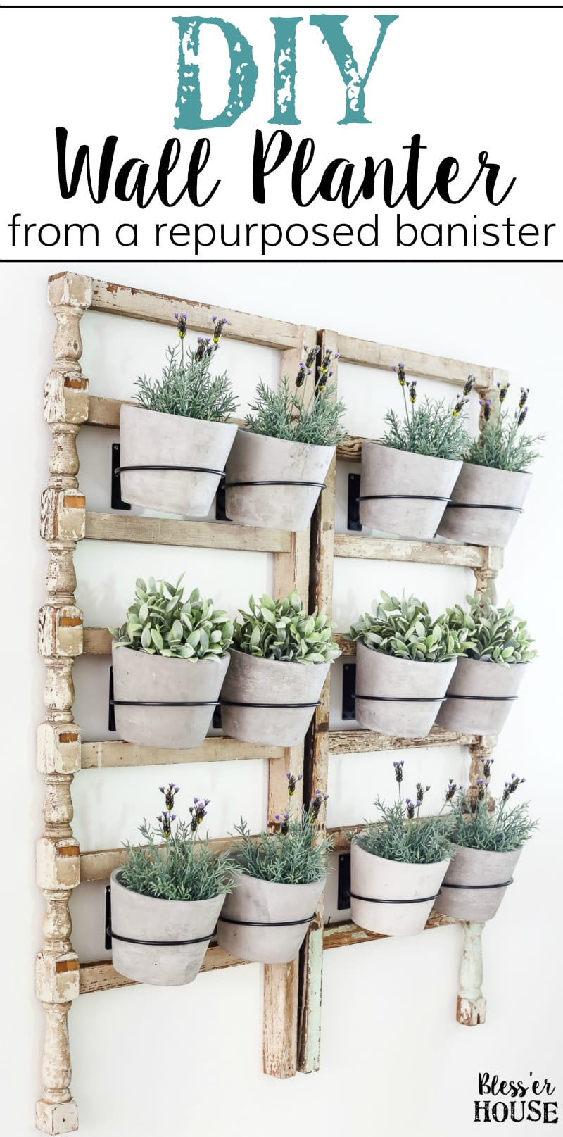 DIY Antique Banister Wall Planter | www.blesserhouse.com - A quick and simple tutorial for how to make a wall planter from a repurposed antique banister using artificial plants. Cute way to bring the outdoors in!