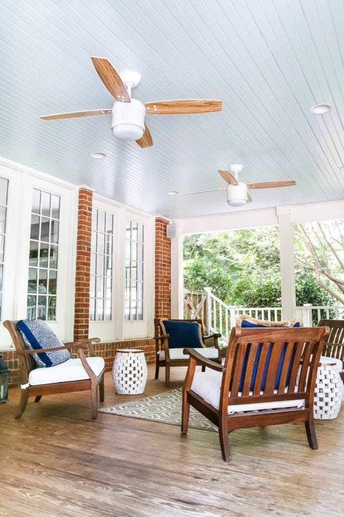 back porch with haint blue ceiling and ceiling fan update