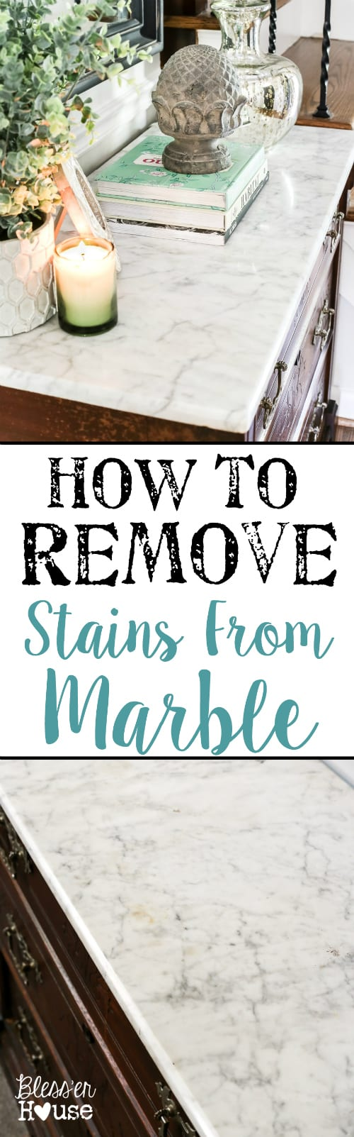 How to Remove Stains from Marble + Foyer Chest Makeover | blesserhouse.com - A quick and simple tutorial for removing stains from white marble using kitchen & first aid supplies, plus a Victorian chest makeover and foyer update.