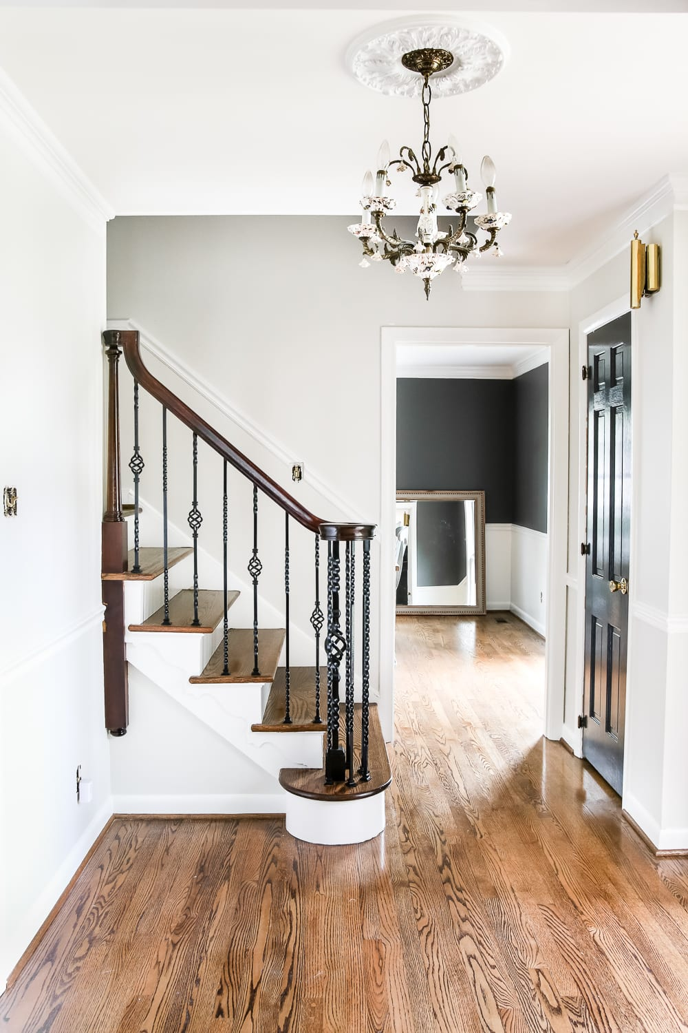 Gray Foyer Colors : Neutral painted foyer update bless er house