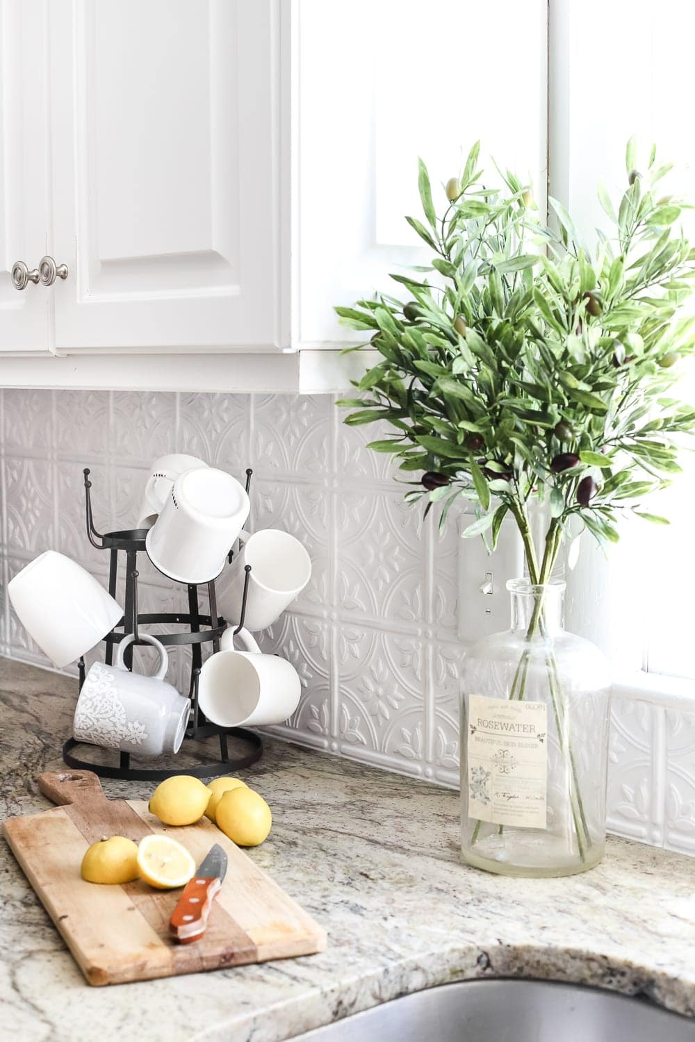 DIY Pressed Tin Kitchen Backsplash | Blesserhouse.com   How To Makeover A Kitchen  Backsplash