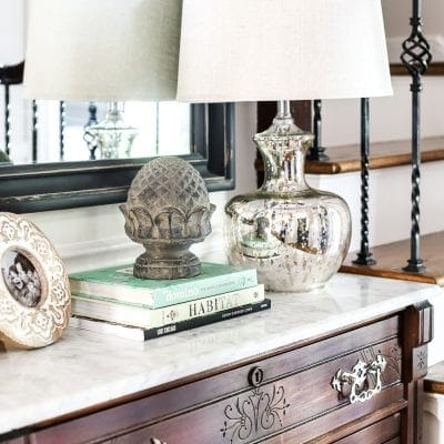 How to remove stains from marble foyer chest makeover