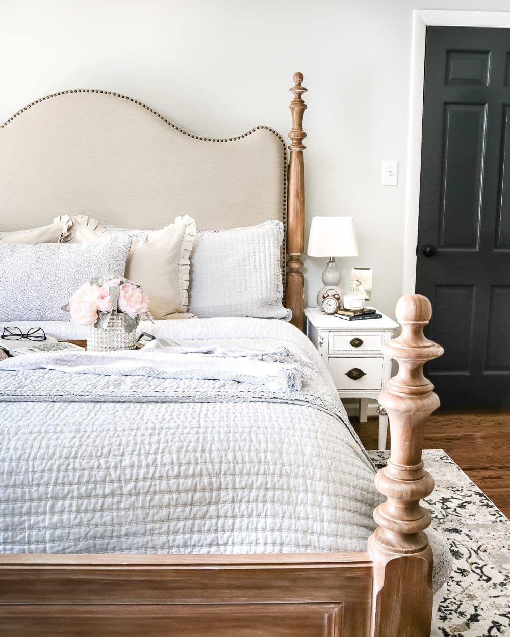 Simply Summer Bedroom Tour | blesserhouse.com - A drab bedroom gets a sophisticated makeover using clearance items and thrift finds for a masculine / feminine balance styled for summer.