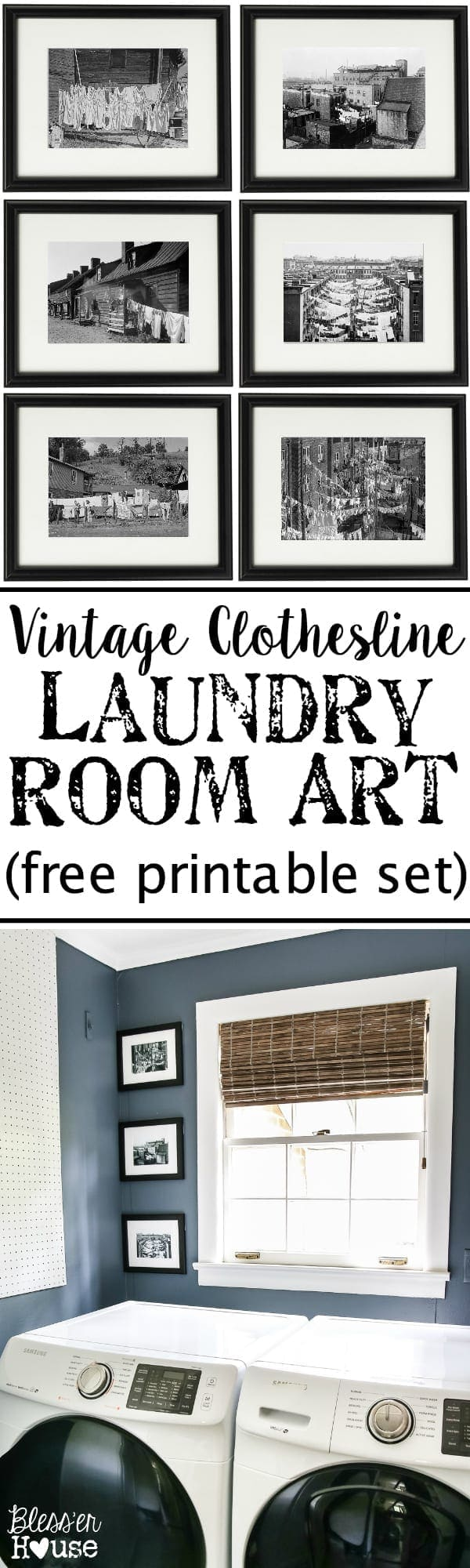 Vintage Clothesline Laundry Room Art Printable Set Bless