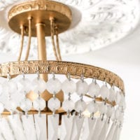 Antique Gold Frosted Crystal Light Fixture Makeover